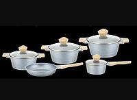 Набор посуды Benson BN-339 (9 пр.) с мраморным покрытием | кастрюля с крышкой, сковорода Бенсон, ковшик
