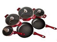 Набор посуды Benson BN-335 (10 предметов) мраморное покрытие | кастрюля с крышкой, кастрюли | сковорода Бенсон