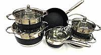 Набор посуды Benson BN-293 с мраморным покрытием (12 предметов) | кастрюля, сковорода с крышкой, сотейник