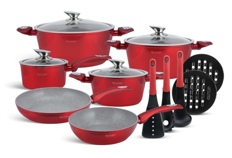 Набор посуды Edenberg EB-5621 с мраморным покрытием (15 предметов)   кастрюля, сковорода с крышкой, сотейник