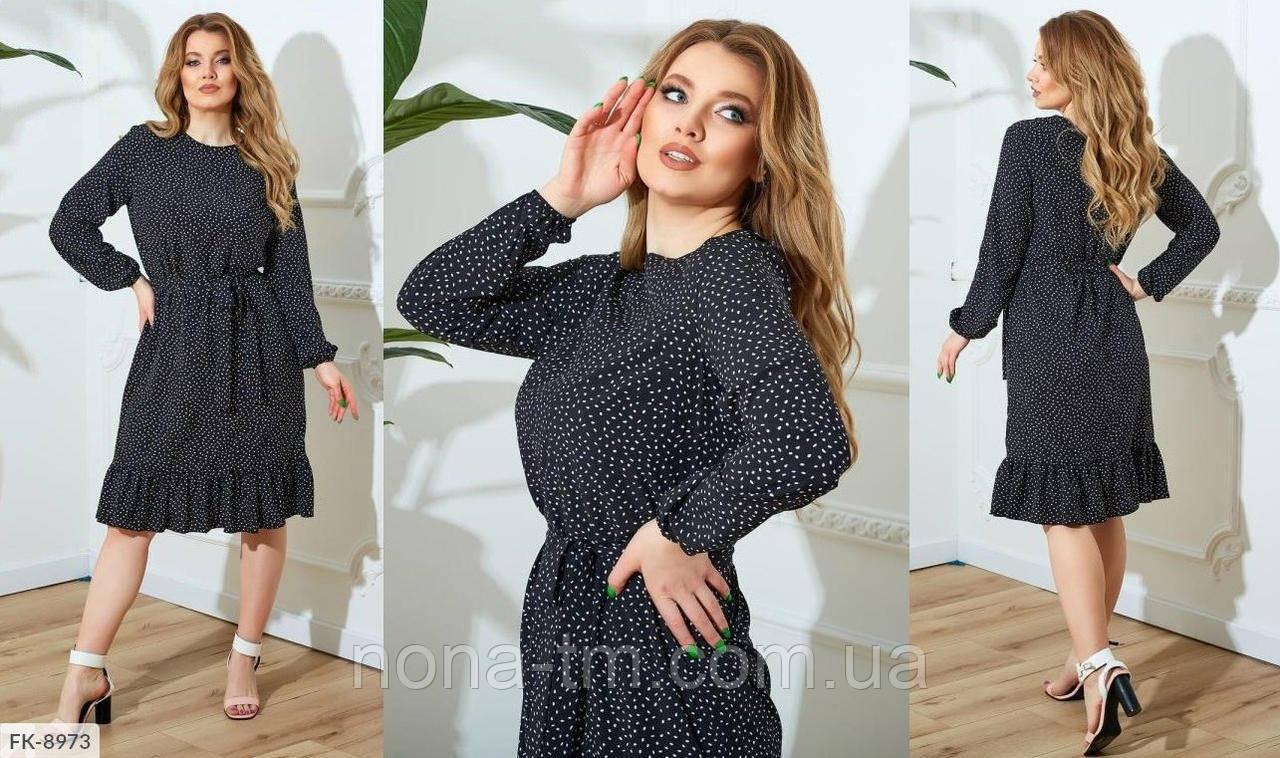 Женское платье в горошек летнее большого размера