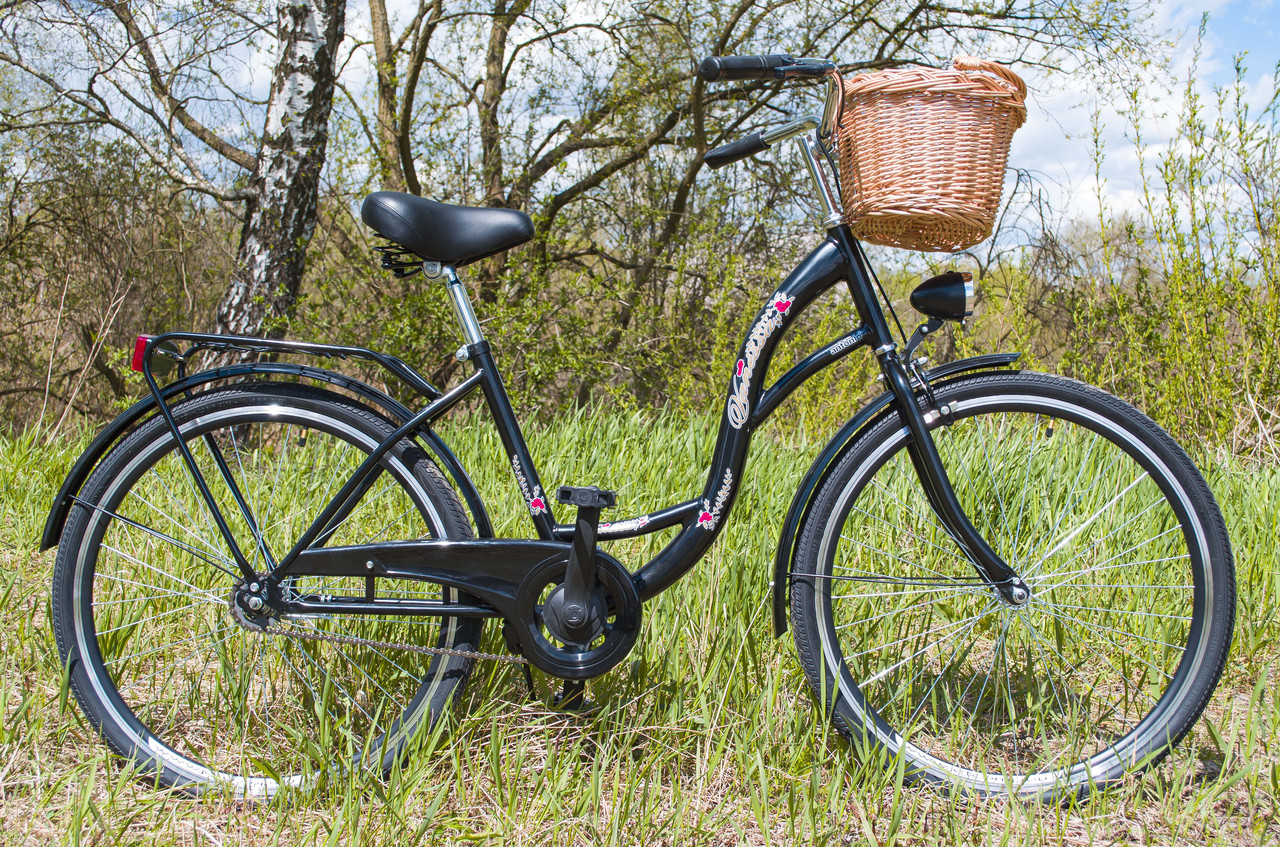 Велосипед женский городской VANESSA 26 Black с корзиной Польша