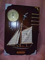 """Деревянная ключница с термометром """"Морская"""" 30х20х5 сантиметров"""