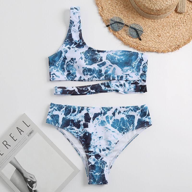 Раздельный голубой купальник с топом на одно плече Blue