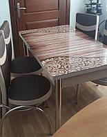 """Раскладной обеденный кухонный комплект стол и стулья с 3D рисунком """"Узор на досках"""" ДСП стекло 70*110 Лотос 3д"""