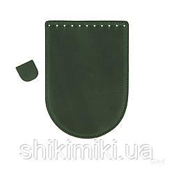 Клапан для сумки из натуральной кожи (20*14), цвет зеленый матовый