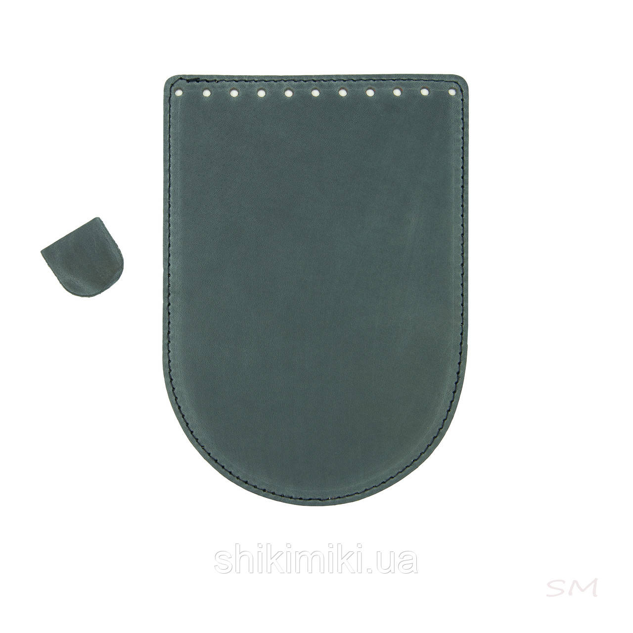 Клапан для круглої сумки з натуральної шкіри (20*14), джинсовий колір матовий