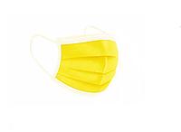 Маска медицинская на резинках с фиксатором Желтая нестерильная 50шт