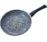 Сковорода Benson BN-566 с антипригарным мраморным покрытием (26*5,2см) индукция бакелитовая ручка | сковородка, фото 3