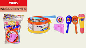 Муз.инструменты W005 (1811551) (96шт/2)микрофон,губная гармошка,маракеши,барабан,гитара...в пакете