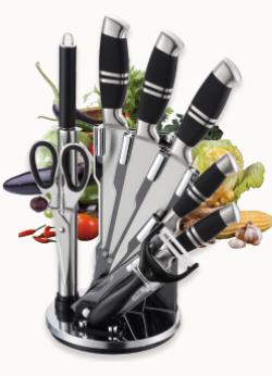 Набір ножів на підставці Benson BN-402 з нержавіючої сталі (8 пр) кухонний ніж, ножиці, овощечистка, точилка