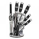 Набір ножів на підставці Benson BN-402 з нержавіючої сталі (8 пр) кухонний ніж, ножиці, овощечистка, точилка, фото 6