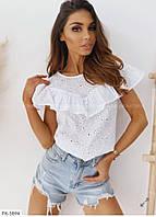 Блузка женская красивая летняя из натуральной ткани прошвы больших размеров 50-52,54-56 арт 15397