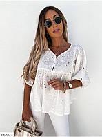 Блуза женская летняя модная из натуральной ткани свободного кроя из прошвы размеры батал 50-52,54-56 арт р6, фото 1