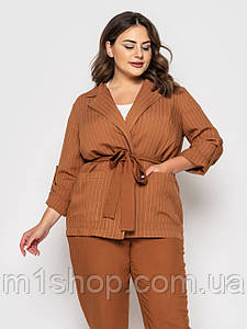 Женский пиджак в тонкую полоску больших размеров (Дастин lzn) Коричневый