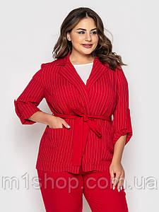 Женский пиджак в тонкую полоску больших размеров (Дастин lzn) Красный.