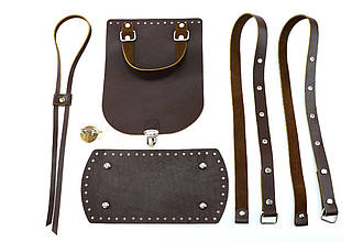 Набор для рюкзака из натуральной кожи, коричневый