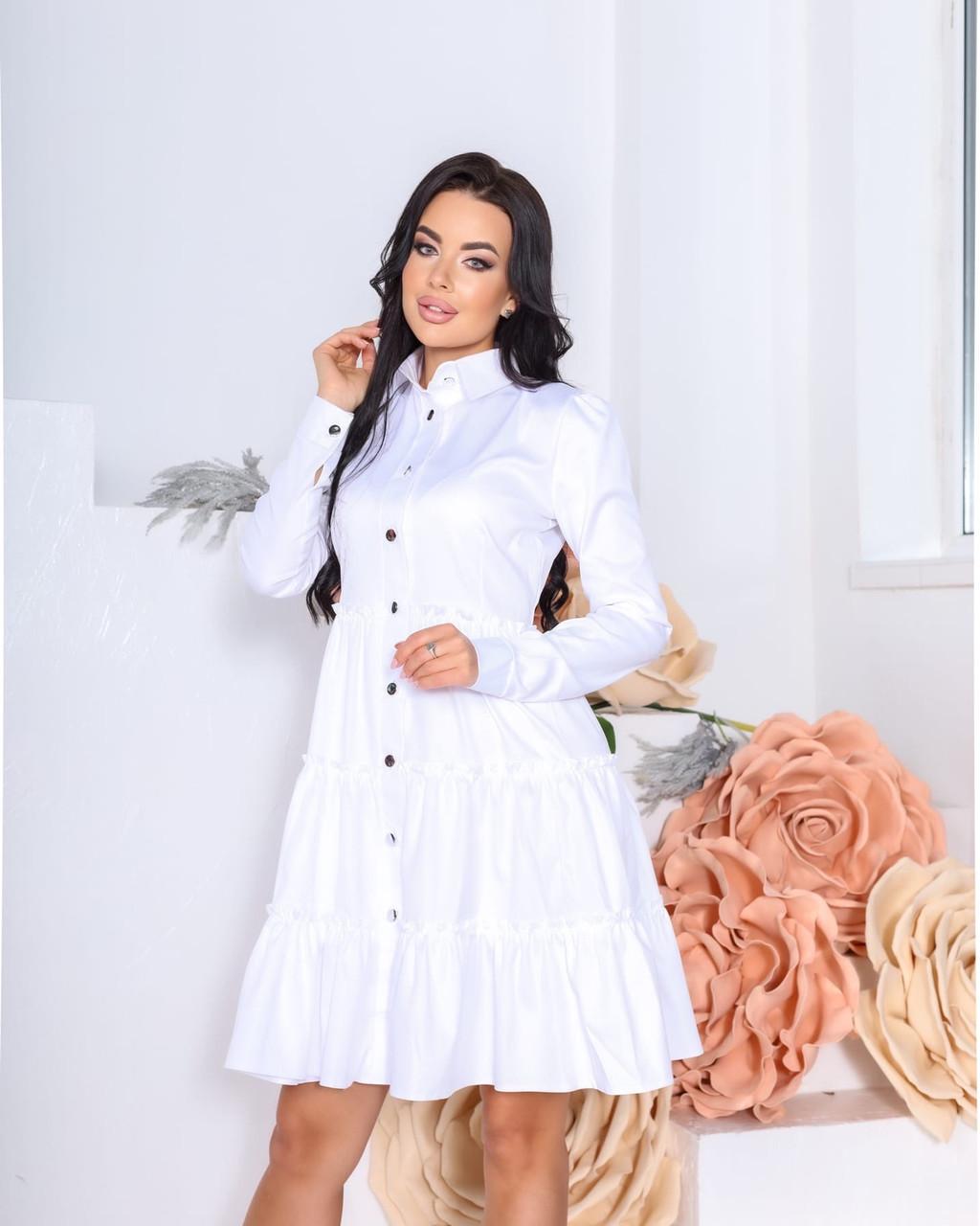 Женское платье с воротником свободный фасон ткань коттон длинный рукав размер: 42-44, 46-48
