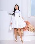 Женское платье с воротником свободный фасон ткань коттон длинный рукав размер: 42-44, 46-48, фото 3