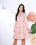 Женское платье с воротником свободный фасон ткань коттон длинный рукав размер: 42-44, 46-48, фото 4