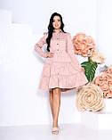 Женское платье с воротником свободный фасон ткань коттон длинный рукав размер: 42-44, 46-48, фото 5