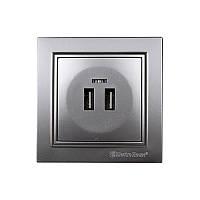 Розетка USB (2 порти) 2 A Enzo Срібний камінь