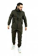 Чоловічий костюм Softshell хакі демісезонний Intruder. Куртка чоловіча , штани утеплені + Ключниця
