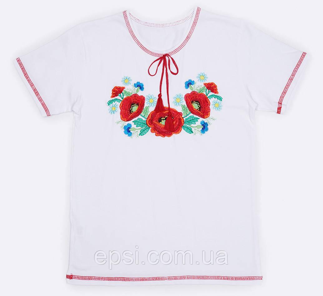 Вышиванка для девочки Malta 19ДД263-24-В Маки 128 см  Белая (2901000228884)