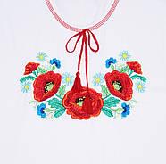 Вышиванка для девочки Malta 19ДД263-24-В Маки 128 см  Белая (2901000228884), фото 2