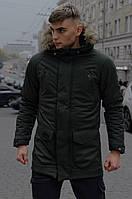 Чоловіча зимова парку хакі HotWint Intruder з хутром