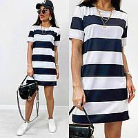 Шикарное модное летнее женское платье в синюю полоску, MI 1019, фото 1