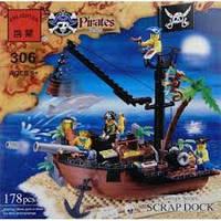 Детская игрушка «конструктор brick (брик) 306 scrap dock (абордаж) «corsair series пиратская серия