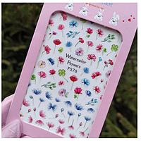 Слайдер дизайн, наклейки для ногтей цветы Sweet Nails F №576
