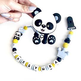 Грызунок Панда, прорезыватель для зубов из пищевого силикона, беби блю