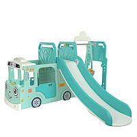 Гірка-гойдалка ігрова Автобус WM19090-5, 195-205-120см, гойдалки, баскетб. кільце, бірюзовий