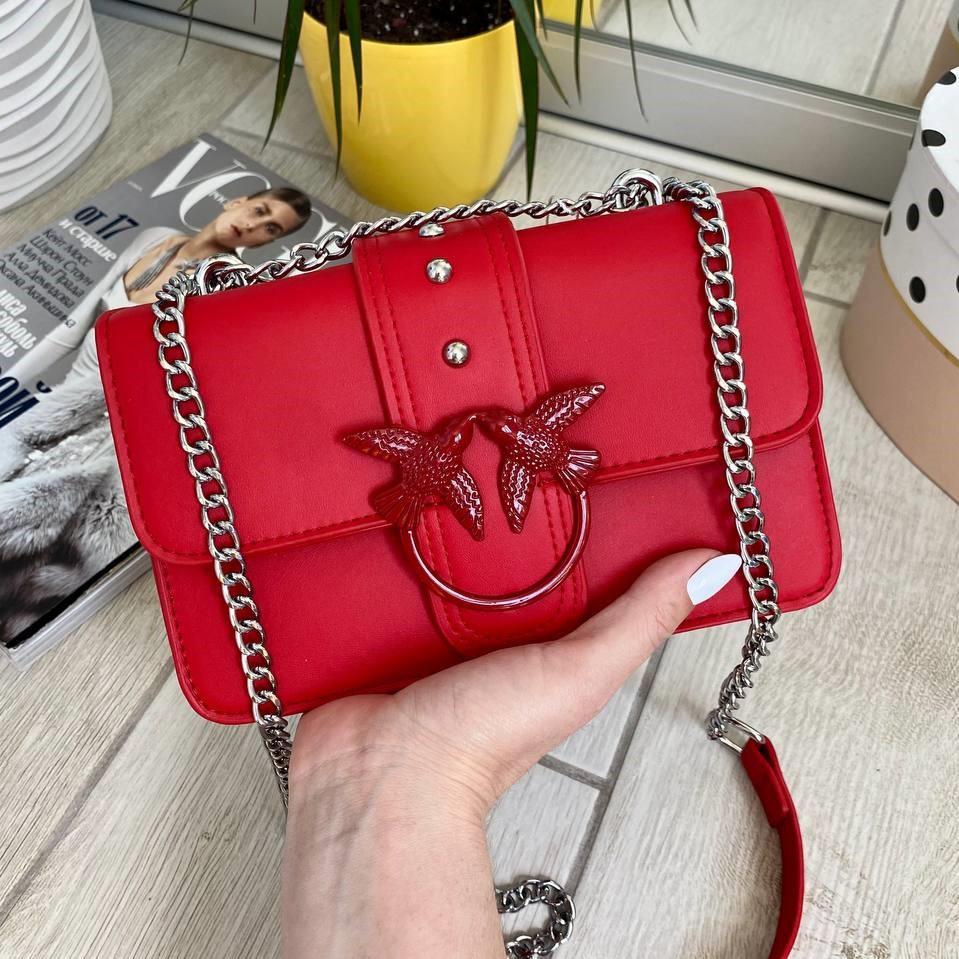 Жіноча червона шкіряна (еко шкіра) міні сумочка - клатч на ланцюжку через плече Пінко. Міні сумка на плече