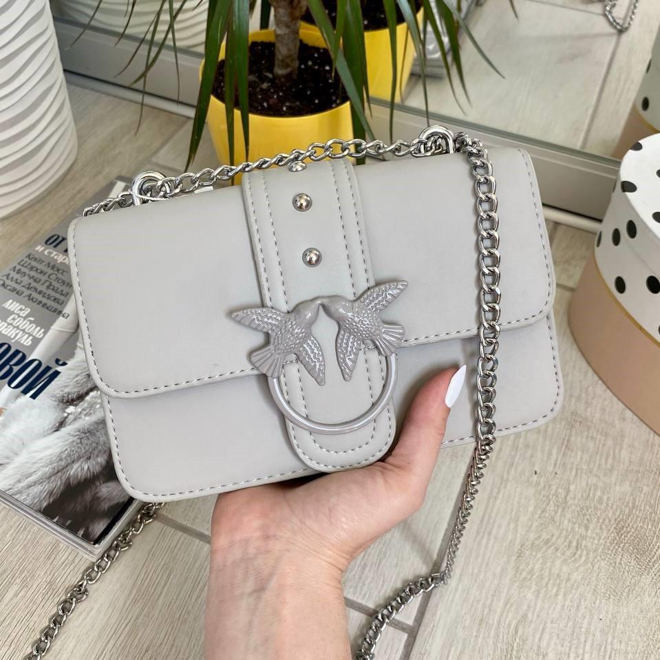 Сіра жіноча шкіряна (еко шкіра) міні сумочка - клатч на ланцюжку через плече Пінко. Міні сумка на плече