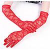 Женские кружевные перчатки, удлиненные, Красные, фото 2
