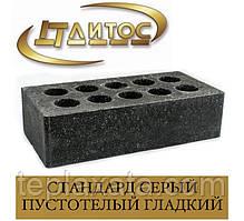 Цегла ЛІТОС СТАНДАРТ гладкий пустотілий Сірий/Чорний