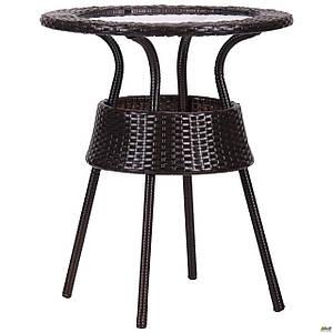 Плетенный стол стеклянный AMF Catalina круглый ротанг коричневый для сада на террасу для уличного кафе