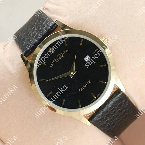Стильные наручные часы Patek Philippe Slim Gold/Black 1901