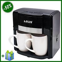 Кофеварка A-PLUS 500 Вт на 2 чашки, компактная кофемашина для приготовления кофе дома и офисе