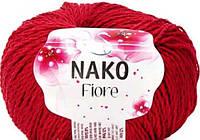 Nako fiore летняя пряжа лен хлопок вискоза красного цвета 3252