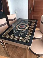 Раскладной обеденный кухонный комплект стол и стулья с 3D рисунком стекло (70*110) Турция