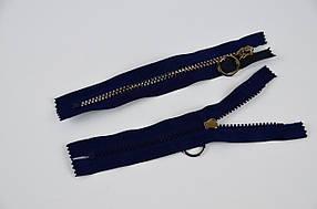 Блискавка змійка тракторна ромбики тип 5, 18 см, кишенькова, темний нікель на темно-синьому, 100 шт/уп