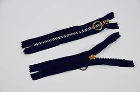 Блискавка змійка тракторна ромбики тип 5, 18 см, кишенькова, нікель на темно-синьому, 100 шт/уп