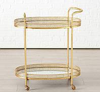 Стол сервировочный на колесиках Гастон металл золото h77см w40см Гранд Презент 1015848