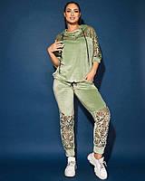 Велюровый женский спортивный костюм с ажурной перфорацией .рукав три четверти в больших размеров