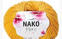 Nako fiore летняя пряжа лен хлопок вискоза желтого цвета 11243