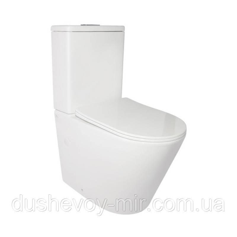 Унітаз-компакт Qtap Stork безободковый з сидінням Soft-close QT15222179W